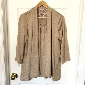 White Stag 2fer Top with Flyaway Cardigan Sz M